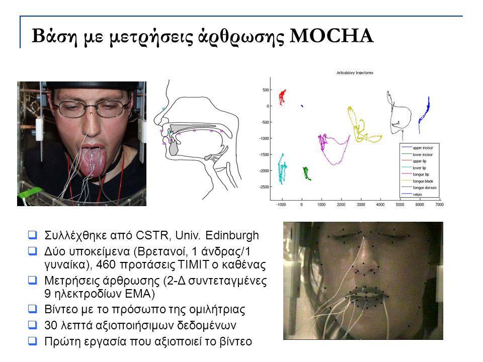  Συλλέχθηκε από CSTR, Univ. Edinburgh  Δύο υποκείμενα (Βρετανοί, 1 άνδρας/1 γυναίκα), 460 προτάσεις TIMIT ο καθένας  Μετρήσεις άρθρωσης (2-Δ συντετ