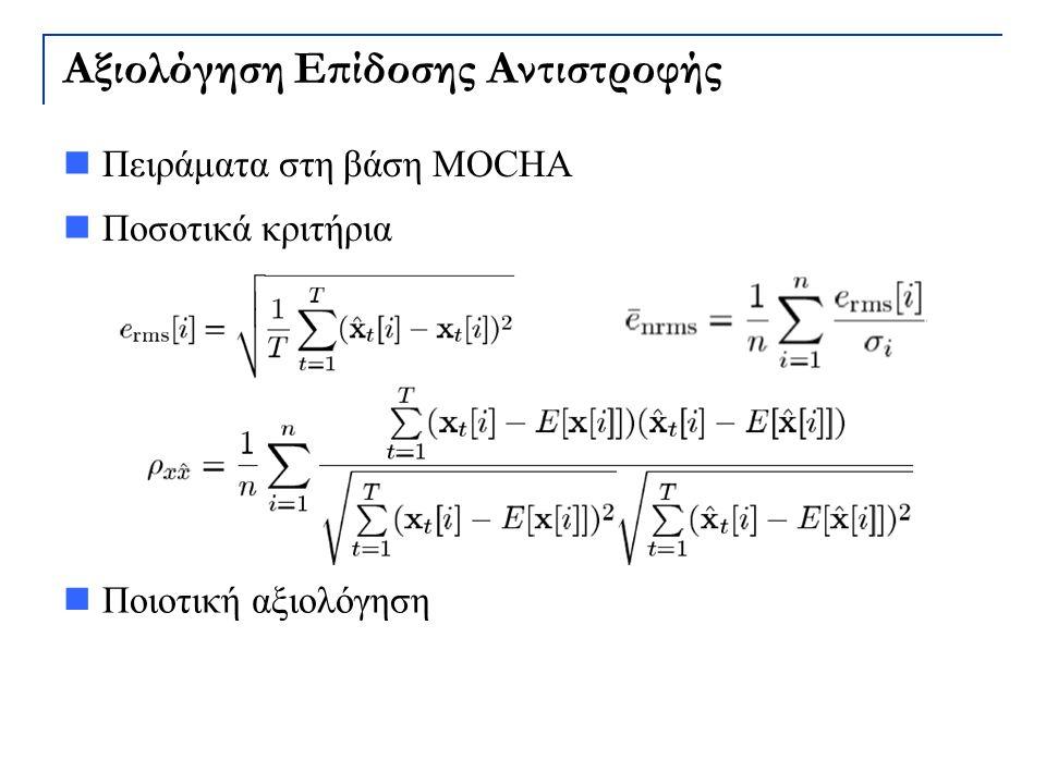 Αξιολόγηση Επίδοσης Αντιστροφής Πειράματα στη βάση MOCHA Ποσοτικά κριτήρια Ποιοτική αξιολόγηση