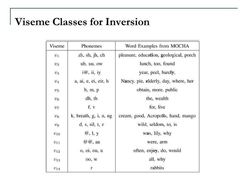 Viseme Classes for Inversion