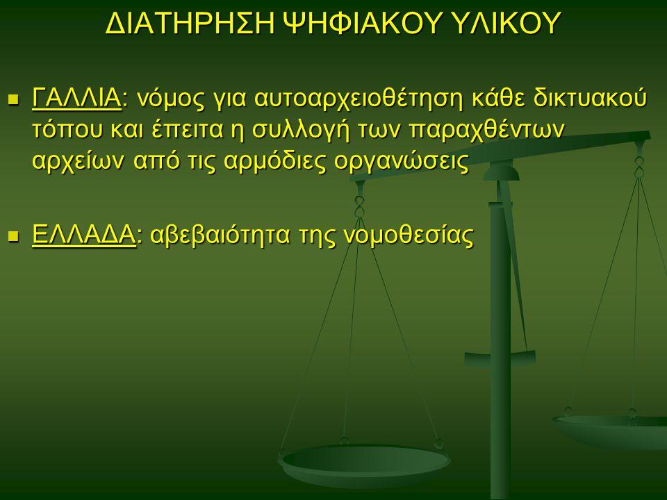 ΔΙΑΤΗΡΗΣΗ ΨΗΦΙΑΚΟΥ ΥΛΙΚΟΥ ΓΑΛΛΙΑ: νόμος για αυτοαρχειοθέτηση κάθε δικτυακού τόπου και έπειτα η συλλογή των παραχθέντων αρχείων από τις αρμόδιες οργανώσεις ΓΑΛΛΙΑ: νόμος για αυτοαρχειοθέτηση κάθε δικτυακού τόπου και έπειτα η συλλογή των παραχθέντων αρχείων από τις αρμόδιες οργανώσεις ΕΛΛΑΔΑ: αβεβαιότητα της νομοθεσίας ΕΛΛΑΔΑ: αβεβαιότητα της νομοθεσίας