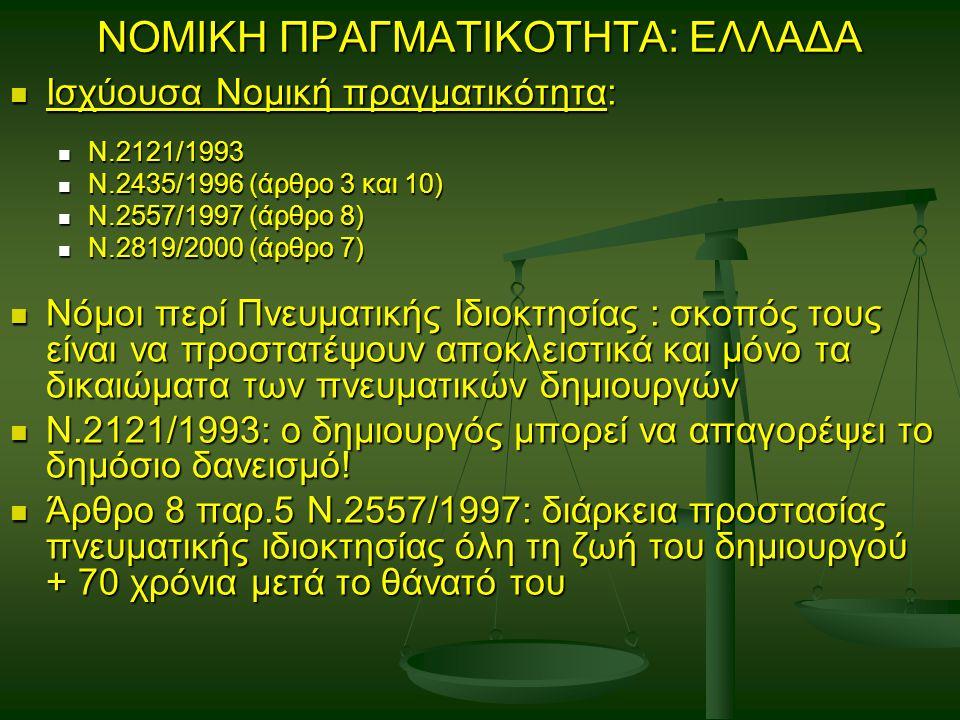 ΝΟΜΙΚΗ ΠΡΑΓΜΑΤΙΚΟΤΗΤΑ: ΕΛΛΑΔΑ Ισχύουσα Νομική πραγματικότητα: Ισχύουσα Νομική πραγματικότητα: Ν.2121/1993 Ν.2121/1993 Ν.2435/1996 (άρθρο 3 και 10) Ν.2435/1996 (άρθρο 3 και 10) Ν.2557/1997 (άρθρο 8) Ν.2557/1997 (άρθρο 8) Ν.2819/2000 (άρθρο 7) Ν.2819/2000 (άρθρο 7) Νόμοι περί Πνευματικής Ιδιοκτησίας : σκοπός τους είναι να προστατέψουν αποκλειστικά και μόνο τα δικαιώματα των πνευματικών δημιουργών Νόμοι περί Πνευματικής Ιδιοκτησίας : σκοπός τους είναι να προστατέψουν αποκλειστικά και μόνο τα δικαιώματα των πνευματικών δημιουργών Ν.2121/1993: ο δημιουργός μπορεί να απαγορέψει το δημόσιο δανεισμό.