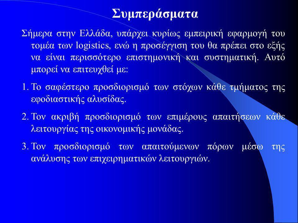 Συμπεράσματα Σήμερα στην Ελλάδα, υπάρχει κυρίως εμπειρική εφαρμογή του τομέα των logistics, ενώ η προσέγγιση του θα πρέπει στο εξής να είναι περισσότερο επιστημονική και συστηματική.