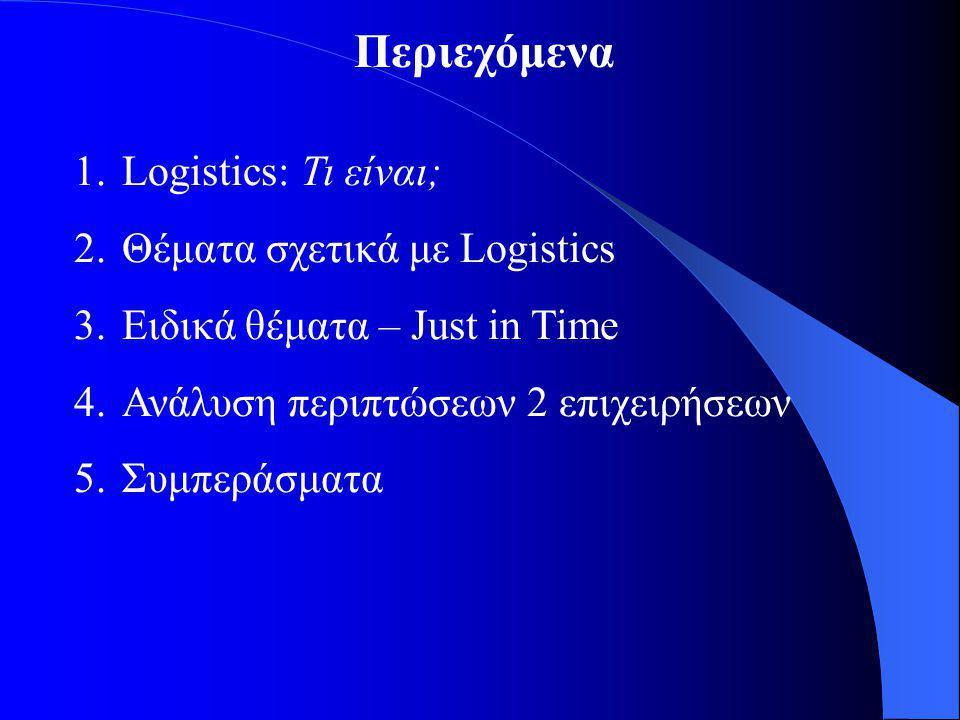 Περιεχόμενα 1.Logistics: Τι είναι; 2.Θέματα σχετικά με Logistics 3.Ειδικά θέματα – Just in Time 4.Ανάλυση περιπτώσεων 2 επιχειρήσεων 5.Συμπεράσματα