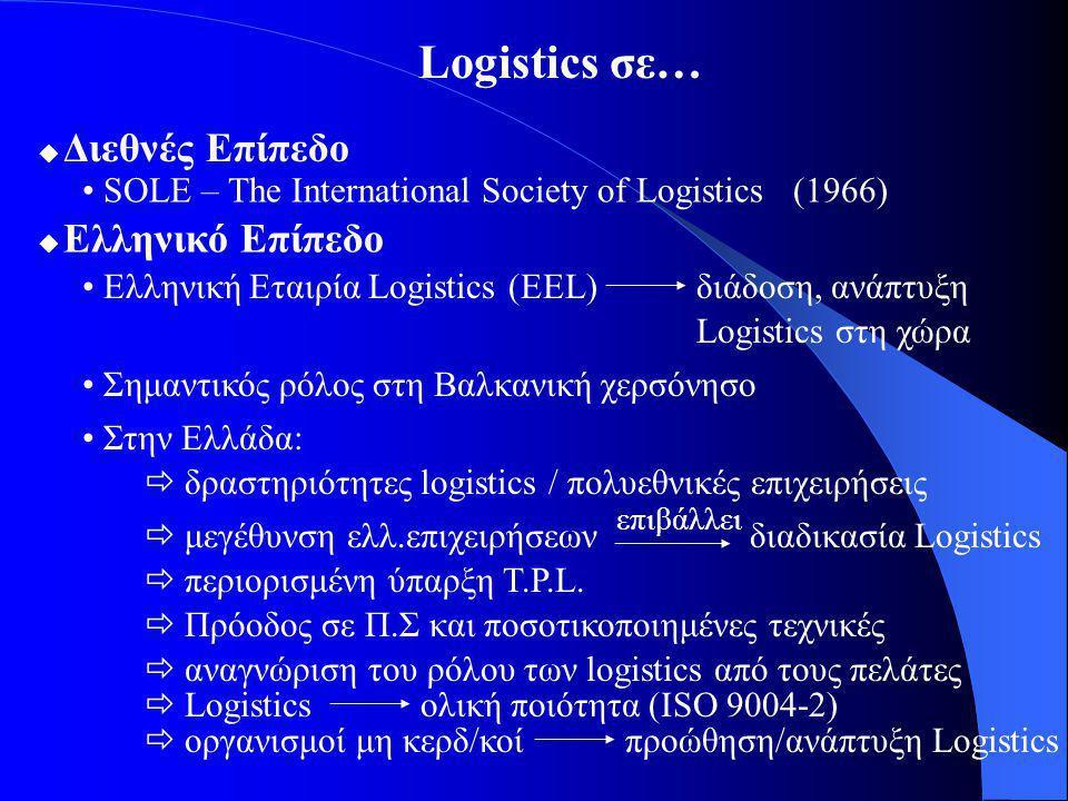 Logistics σε…  Διεθνές Επίπεδο SOLE – The International Society of Logistics (1966)  Ελληνικό Επίπεδο Ελληνική Εταιρία Logistics (EEL) Σημαντικός ρόλος στη Βαλκανική χερσόνησο Στην Ελλάδα: διάδοση, ανάπτυξη Logistics στη χώρα  δραστηριότητες logistics / πολυεθνικές επιχειρήσεις  μεγέθυνση ελλ.επιχειρήσεων  περιορισμένη ύπαρξη T.P.L.