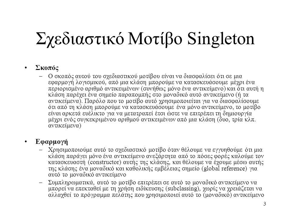 3 Σχεδιαστικό Μοτίβο Singleton Σκοπός –Ο σκοπός αυτού του σχεδιαστικού μοτίβου είναι να διασφαλίσει ότι σε μια εφαρμογή λογισμικού, από μια κλάση μπορ