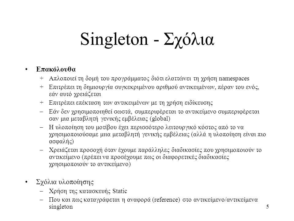 5 Singleton - Σχόλια Επακόλουθα +Απλοποιεί τη δομή του προγράμματος διότι ελαττώνει τη χρήση namespaces +Επιτρέπει τη δημιουργία συγκεκριμένου αριθμού