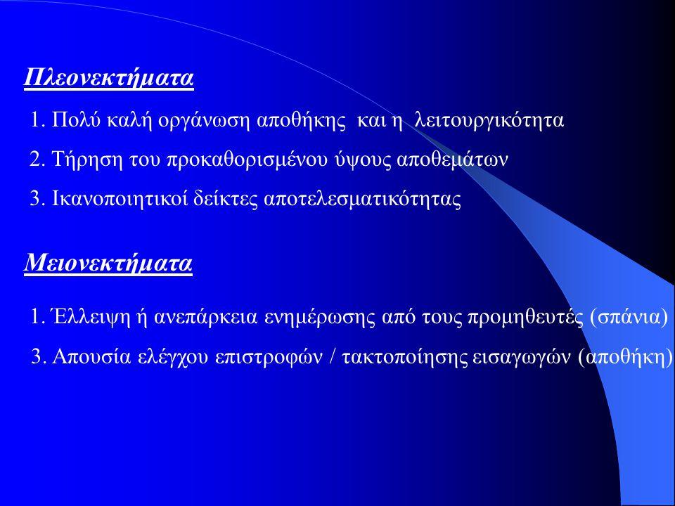 Πλεονεκτήματα Μειονεκτήματα 1.Πολύ καλή οργάνωση αποθήκης και η λειτουργικότητα 2.