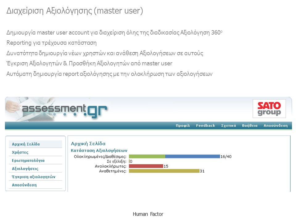 Human Factor Διαχείριση Αξιολόγησης (master user) Δημιουργία master user account για διαχείριση όλης της διαδικασίας Αξιολόγηση 360 ο Reporting για τρ