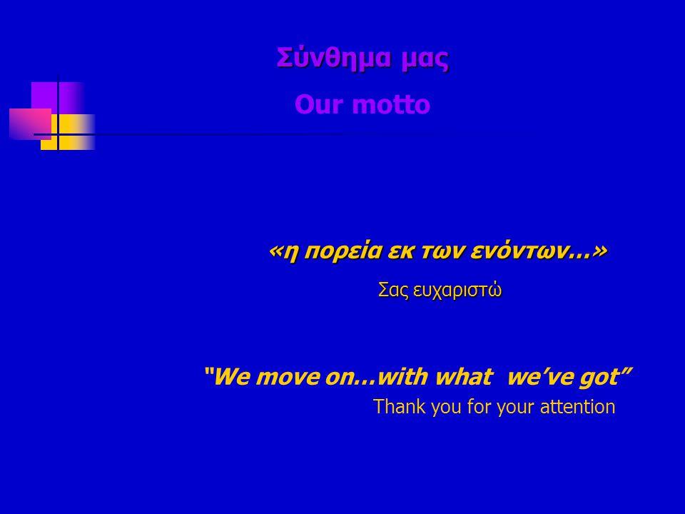 """Σύνθημα μας Σύνθημα μας Our motto «η πορεία εκ των ενόντων…» «η πορεία εκ των ενόντων…» Σας ευχαριστώ Σας ευχαριστώ """"We move on…with what we've got"""" T"""