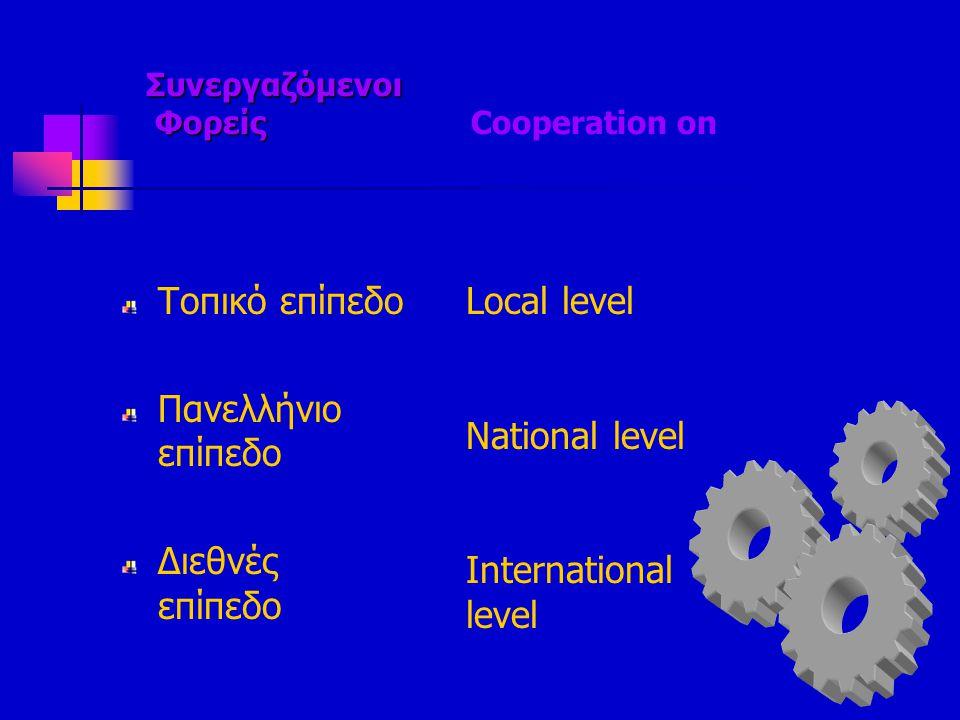 Συνεργαζόμενοι Φορείς Συνεργαζόμενοι Φορείς Cooperation on Τοπικό επίπεδο Πανελλήνιο επίπεδο Διεθνές επίπεδο Local level National level International