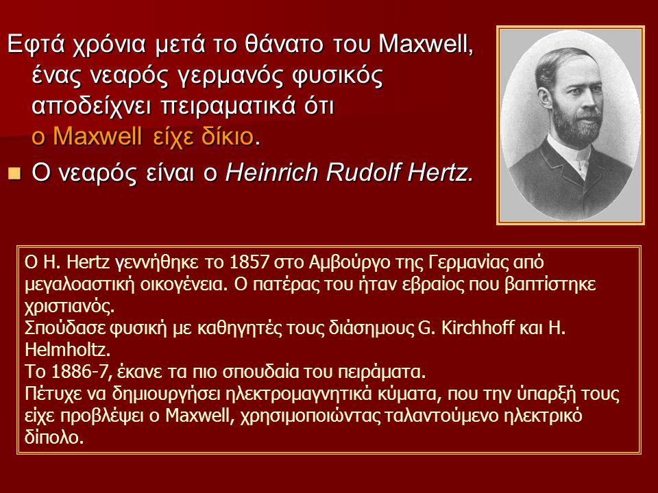 Εφτά χρόνια μετά το θάνατο του Maxwell, ένας νεαρός γερμανός φυσικός αποδείχνει πειραματικά ότι ο Maxwell είχε δίκιο.