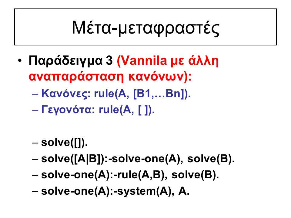 Μέτα-μεταφραστές Παράδειγμα 3 (Vannila με άλλη αναπαράσταση κανόνων): –Κανόνες: rule(A, [B1,…Bn]).