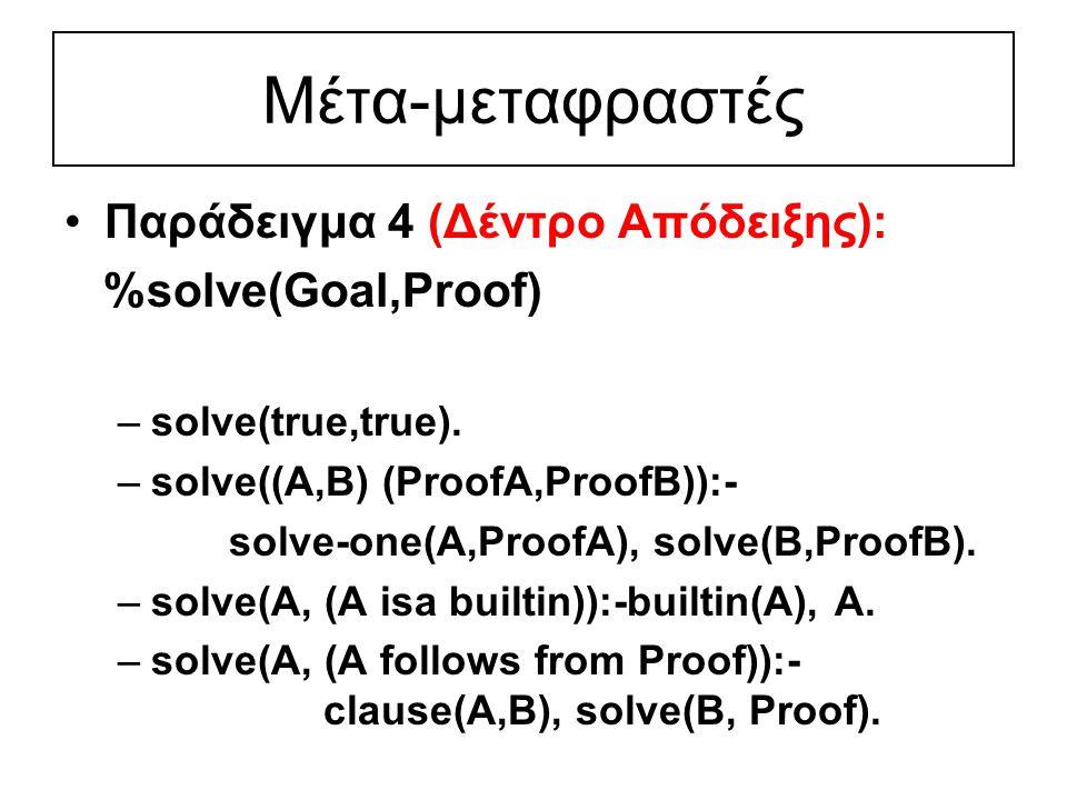 Μέτα-μεταφραστές Παράδειγμα 4 (Δέντρο Απόδειξης): %solve(Goal,Proof) –solve(true,true).
