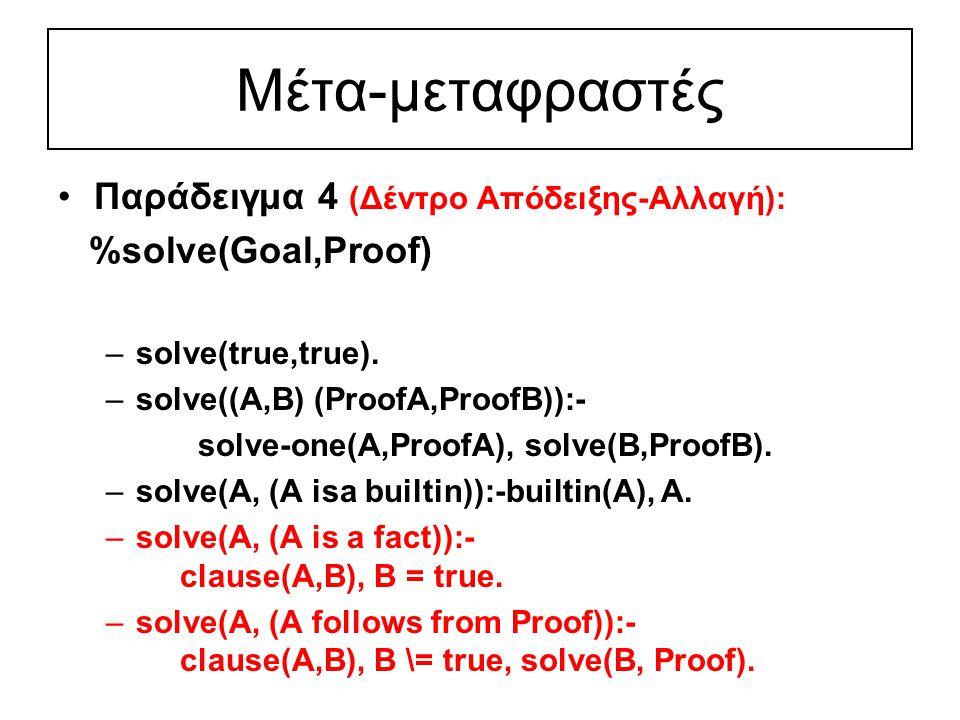 Μέτα-μεταφραστές Παράδειγμα 4 (Δέντρο Απόδειξης-Αλλαγή): %solve(Goal,Proof) –solve(true,true).