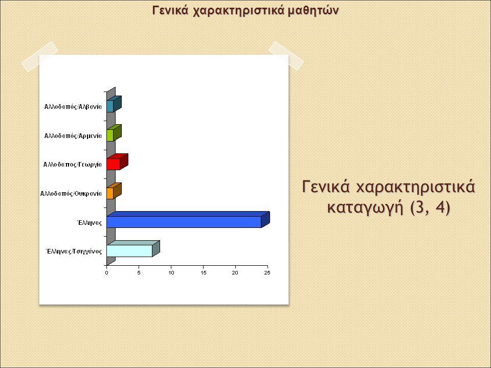 Γενικά χαρακτηριστικά καταγωγή (3, 4) Γενικά χαρακτηριστικά μαθητών