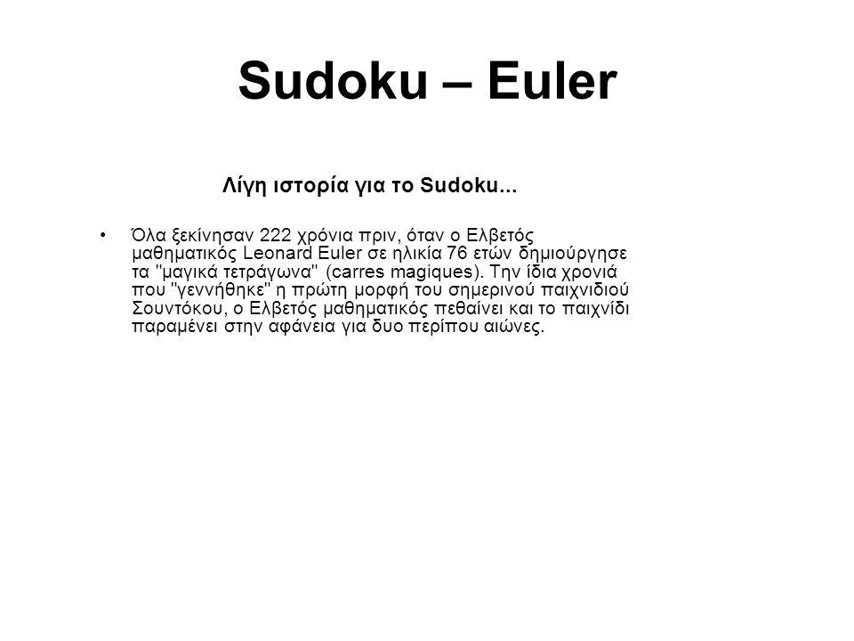 Sudoku – Euler Λίγη ιστορία για το Sudoku... Όλα ξεκίνησαν 222 χρόνια πριν, όταν ο Ελβετός μαθηματικός Leonard Euler σε ηλικία 76 ετών δημιούργησε τα