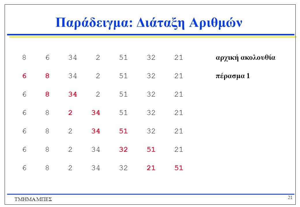 20 ΤΜΗΜΑ ΜΠΕΣ Παράδειγμα: Διάταξη Αριθμών Λέγοντας ότι διατάσουμε n αριθμούς x 1 …x n, εννοούμε ότι τους μεταθέτουμε έτσι ώστε τελικά να είναι διατετα