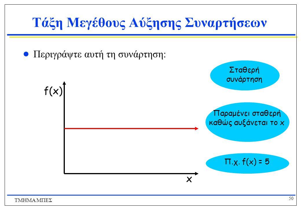 49 ΤΜΗΜΑ ΜΠΕΣ Τάξη Μεγέθους Αύξησης Συναρτήσεων Στη γραφική αναπαράσταση των συναρτήσεων, καθώς προχωράμε προς τα δεξιά, η συνάρτηση που αυξάνεται γρη