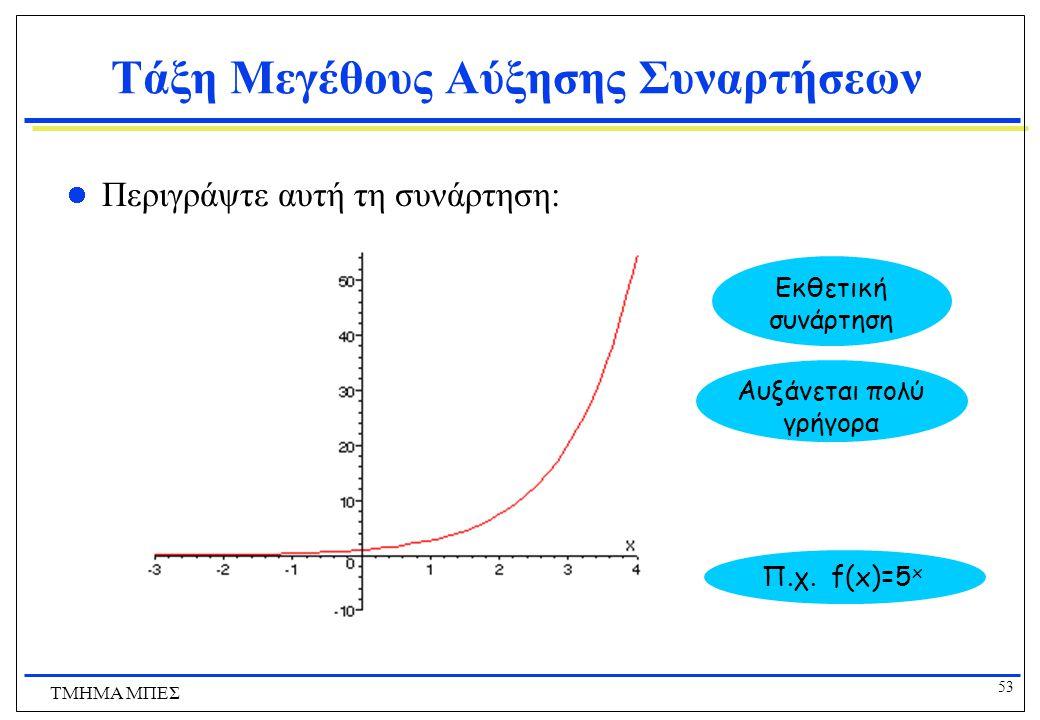 52 ΤΜΗΜΑ ΜΠΕΣ Τάξη Μεγέθους Αύξησης Συναρτήσεων Περιγράψτε αυτή τη συνάρτηση: Αυξάνεται πολύ αργά Λογαριθμική συνάρτηση Π.χ. f(x)=5logx