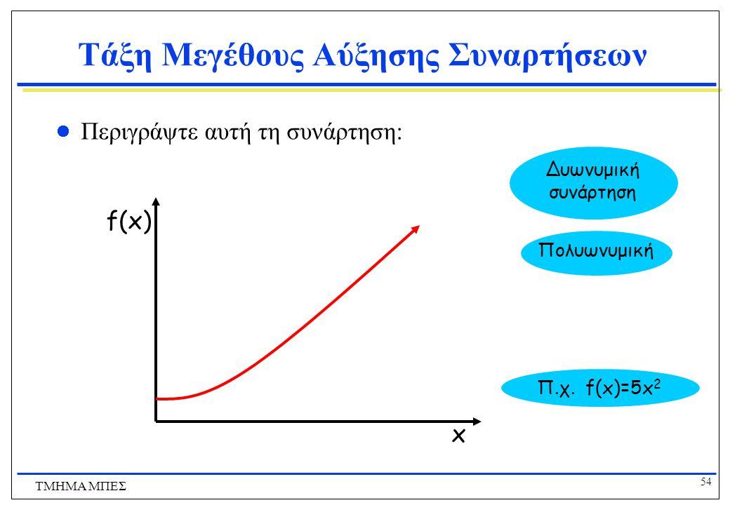 53 ΤΜΗΜΑ ΜΠΕΣ Τάξη Μεγέθους Αύξησης Συναρτήσεων Περιγράψτε αυτή τη συνάρτηση: Αυξάνεται πολύ γρήγορα Εκθετική συνάρτηση Π.χ. f(x)=5 x