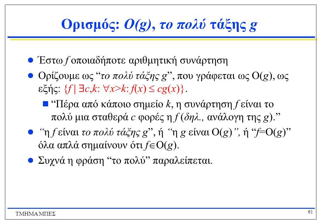 60 ΤΜΗΜΑ ΜΠΕΣ Ασυμπτωτική Συμπεριφορά Αριθμητικών Συναρτήσεων Για κάποια δεδομένη αριθμητική συνάρτηση f, συμβολίζουμε με Ο(f) το σύνολο όλων των αριθμητικών συναρτήσεων των οποίων η f επικρατεί ασυμπτωτικά.