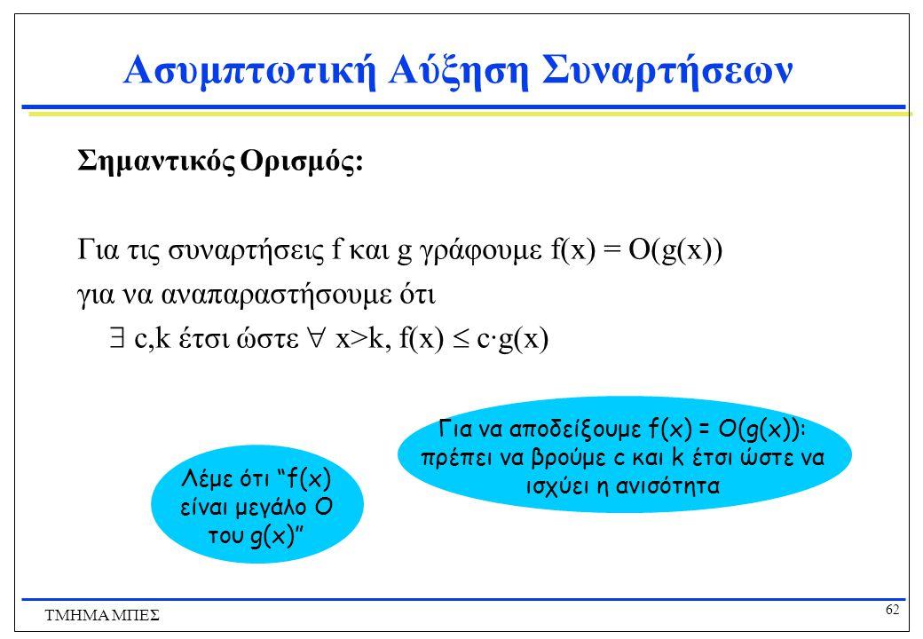 61 ΤΜΗΜΑ ΜΠΕΣ Ορισμός: O(g), το πολύ τάξης g Έστω f οποιαδήποτε αριθμητική συνάρτηση Ορίζουμε ως το πολύ τάξης g , που γράφεται ως O(g), ως εξής: {f |  c,k:  x>k: f(x)  cg(x)}.