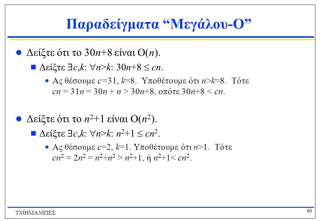 65 ΤΜΗΜΑ ΜΠΕΣ Ασυμπτωτική Συμπεριφορά Αριθμητικών Συναρτήσεων Ισχύουν τα εξής:  Για οποιαδήποτε αριθμητική συνάρτηση a, η συνάρτηση a είναι O(|a|).