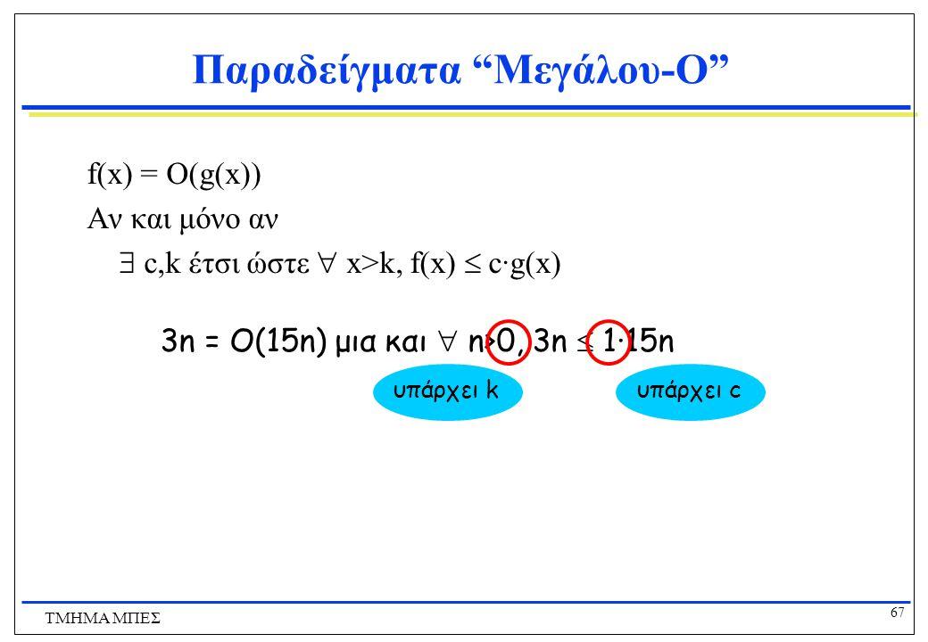 """66 ΤΜΗΜΑ ΜΠΕΣ Παραδείγματα """"Μεγάλου-O"""" Δείξτε ότι το 30n+8 είναι O(n).  Δείξτε  c,k:  n>k: 30n+8  cn.  Ας θέσουμε c=31, k=8. Υποθέτουμε ότι n>k=8"""