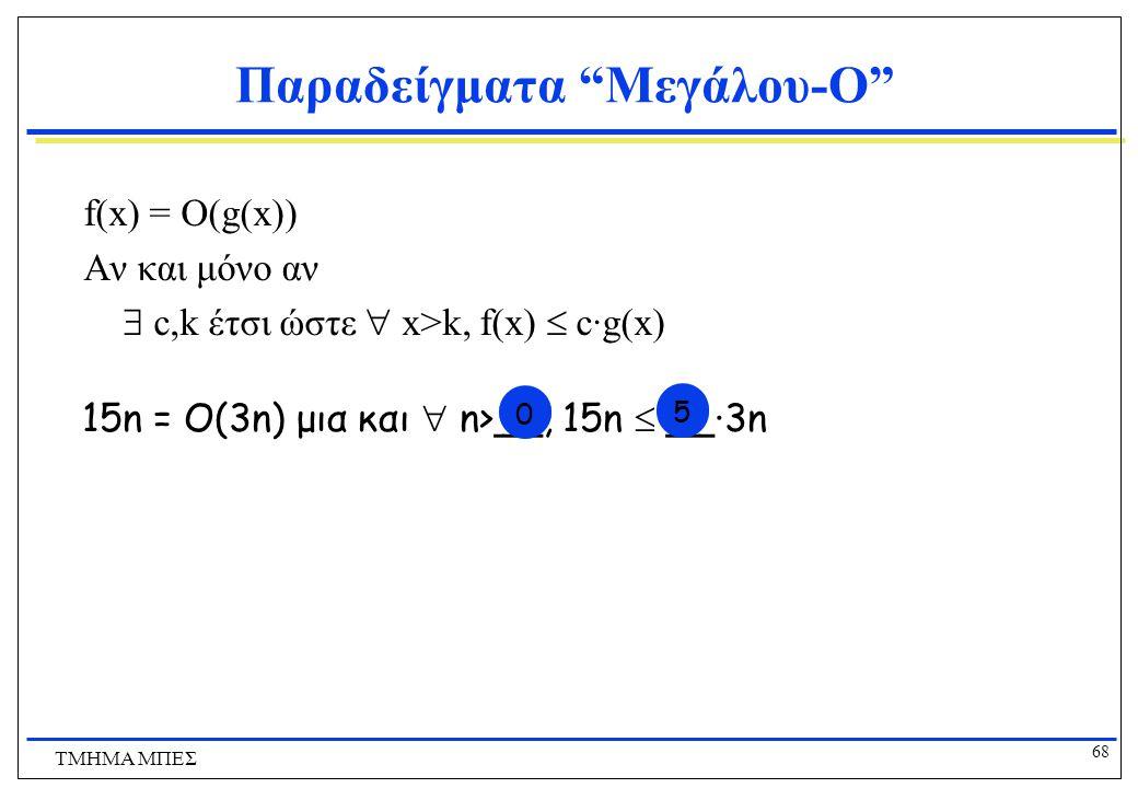 67 ΤΜΗΜΑ ΜΠΕΣ Παραδείγματα Μεγάλου-O f(x) = O(g(x)) Αν και μόνο αν  c,k έτσι ώστε  x>k, f(x)  c·g(x) 3n = O(15n) μια και  n>0, 3n  1·15n υπάρχει kυπάρχει c