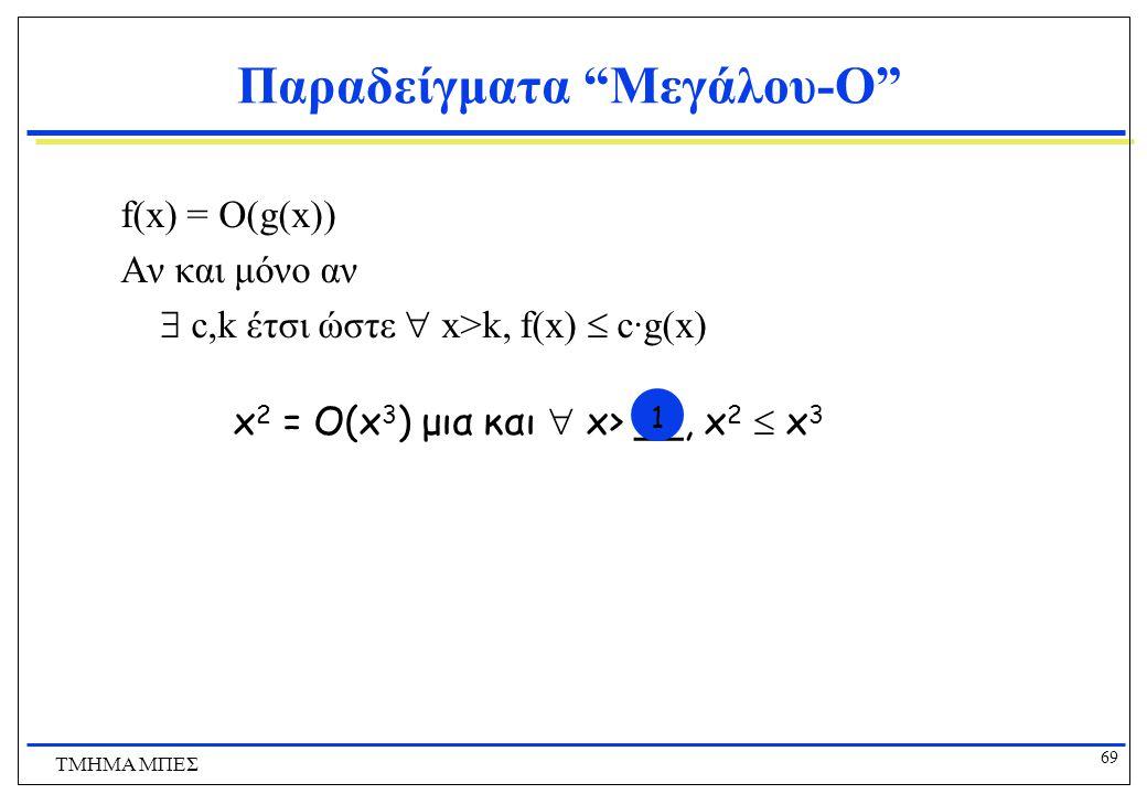 68 ΤΜΗΜΑ ΜΠΕΣ Παραδείγματα Μεγάλου-O f(x) = O(g(x)) Αν και μόνο αν  c,k έτσι ώστε  x>k, f(x)  c·g(x) 15n = O(3n) μια και  n>__, 15n  __·3n 58 05
