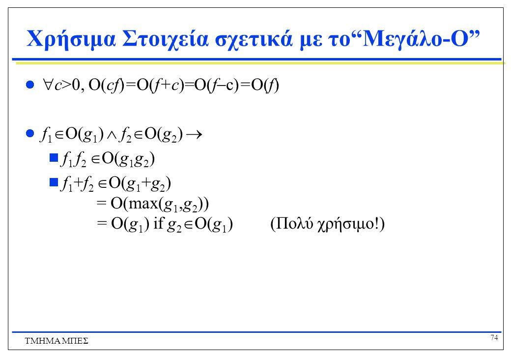 73 ΤΜΗΜΑ ΜΠΕΣ Παρατηρήστε ότι το 30n+8 δεν είναι μικρότερο του n πουθενά (n>0). Δεν είναι καν μικρότερο του 31n παντού. Αλλά είναι μικρότερο του 31n π