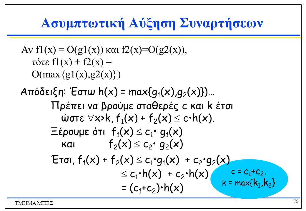 74 ΤΜΗΜΑ ΜΠΕΣ Χρήσιμα Στοιχεία σχετικά με το Μεγάλο-O  c>0, O(cf)=O(f+c)=O(f  c)=O(f) f 1  O(g 1 )  f 2  O(g 2 )   f 1 f 2  O(g 1 g 2 )  f 1 +f 2  O(g 1 +g 2 ) = O(max(g 1,g 2 )) = O(g 1 ) if g 2  O(g 1 ) (Πολύ χρήσιμο!)