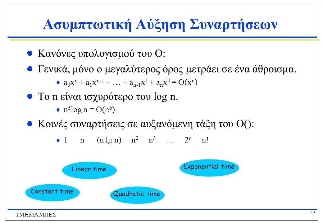 78 ΤΜΗΜΑ ΜΠΕΣ Χρήσιμα Στοιχεία σχετικά με το Μεγάλο-O  f,g & σταθερές a,b  R, με b  0,  af = O(f); (π.χ.