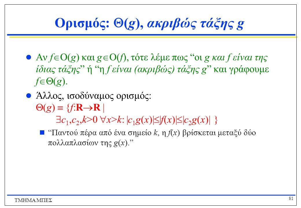 80 ΤΜΗΜΑ ΜΠΕΣ Παραδείγματα Ασυμπτωτικής Αύξησης Συναρτήσεων Άρα