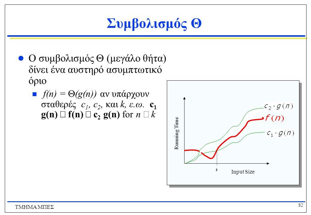81 ΤΜΗΜΑ ΜΠΕΣ Ορισμός:  (g), ακριβώς τάξης g Αν f  O(g) και g  O(f), τότε λέμε πως οι g και f είναι της ίδιας τάξης ή η f είναι (ακριβώς) τάξης g και γράφουμε f  (g).