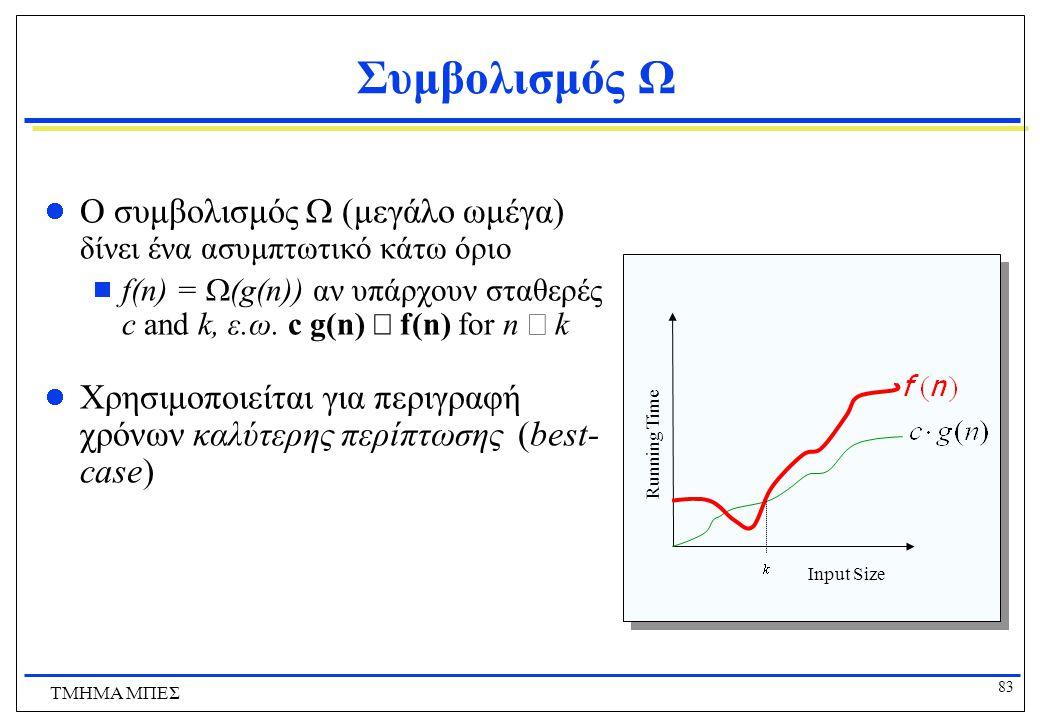 82 ΤΜΗΜΑ ΜΠΕΣ Συμβολισμός Θ Ο συμβολισμός  (μεγάλο θήτα) δίνει ένα αυστηρό ασυμπτωτικό όριο  f(n) =  (g(n)) αν υπάρχουν σταθερές c 1, c 2, και k, ε.ω.