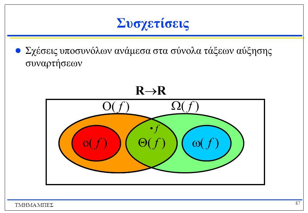 86 ΤΜΗΜΑ ΜΠΕΣ Συσχετίσεις Αύξησης Συναρτήσεων  (g) = {f | g  O(f)} Οι συναρτήσεις που είναι τουλάχιστον τάξης g. o(g) = {f |  c>0  k  x>k : |f(x)| < |cg(x)|} Οι συναρτήσεις που είναι αυστηρά χαμηλότερης τάξης από τη g. o(g)  O(g)   (g).