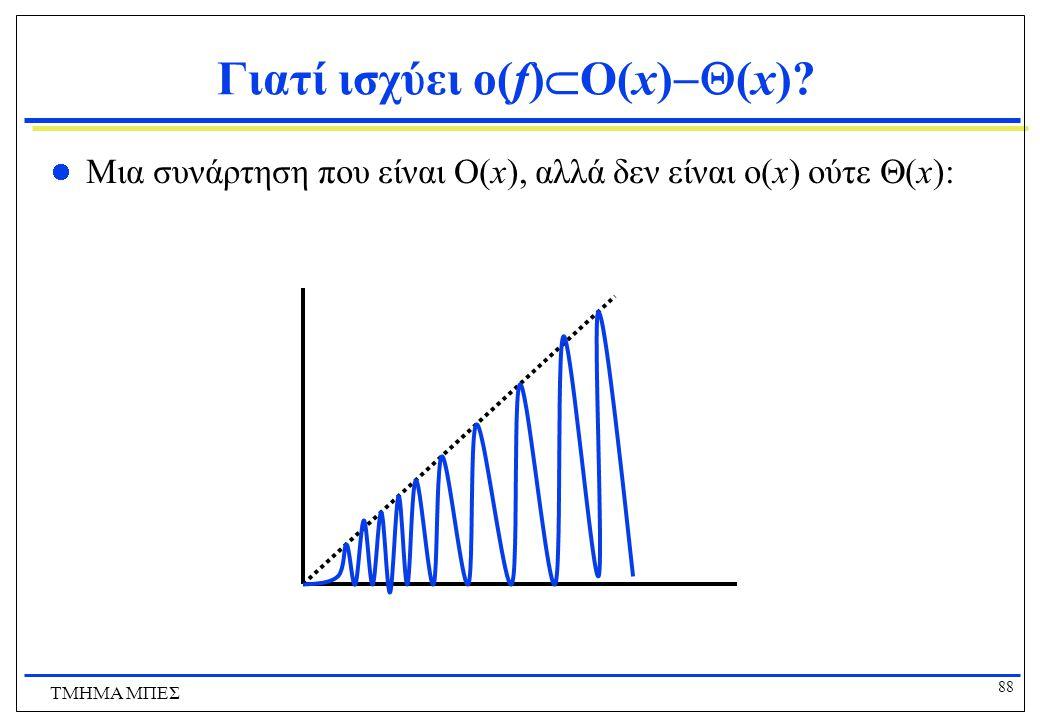 87 ΤΜΗΜΑ ΜΠΕΣ Σχέσεις υποσυνόλων ανάμεσα στα σύνολα τάξεων αύξησης συναρτήσεων Συσχετίσεις RRRR  ( f ) O( f )  ( f )  ( f ) o( f ) f