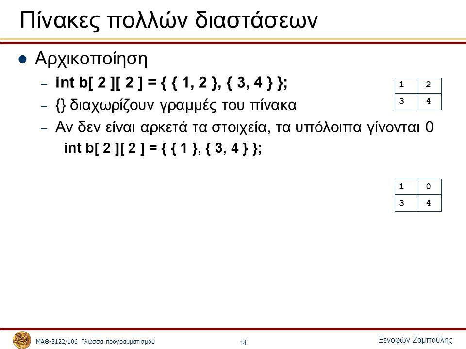ΜΑΘ-3122/106 Γλώσσα προγραμματισμού Ξενοφών Ζαμπούλης 14 Πίνακες πολλών διαστάσεων Αρχικοποίηση – int b[ 2 ][ 2 ] = { { 1, 2 }, { 3, 4 } }; – {} διαχωρίζουν γραμμές του πίνακα – Αν δεν είναι αρκετά τα στοιχεία, τα υπόλοιπα γίνονται 0 int b[ 2 ][ 2 ] = { { 1 }, { 3, 4 } }; 1 2 3 4 1 0 3 4