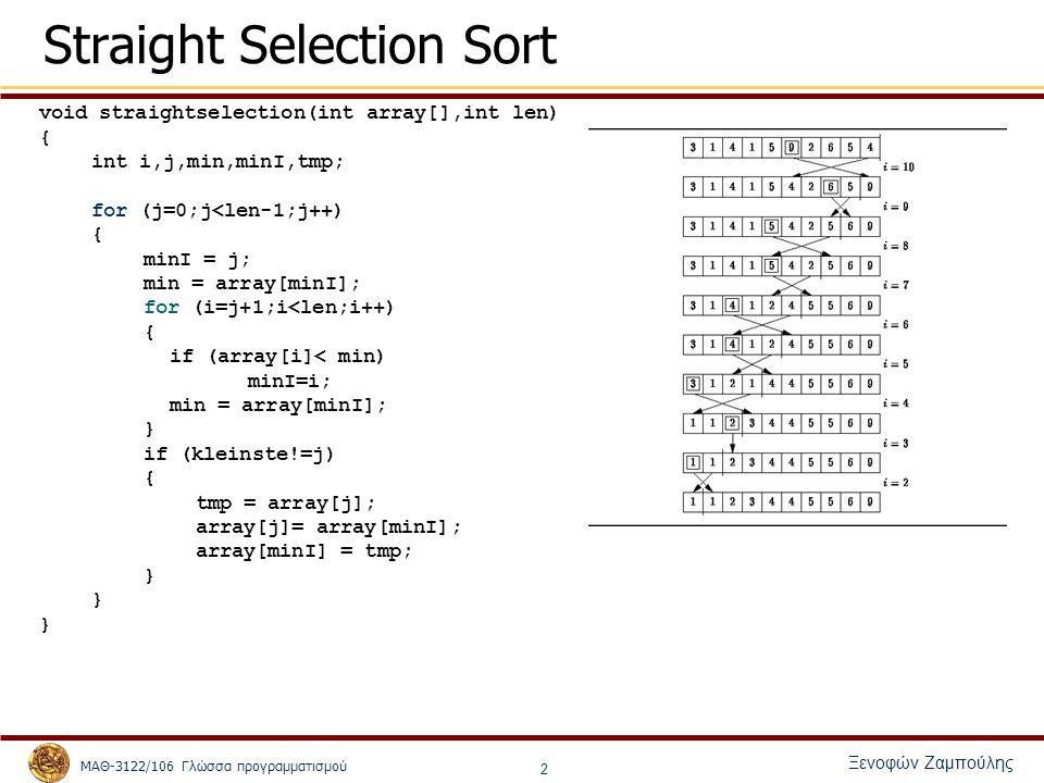 ΜΑΘ-3122/106 Γλώσσα προγραμματισμού Ξενοφών Ζαμπούλης 3 Bubblesort void BubbleSort(int array[], int size) { int pass, j; for (pass = 0; pass < size-1; pass++) for (j=0; j<size-1; j++) if (array[j] > array[j+1]) { Swap(&array[j], &array[j+1]); } void Swap(int *el1, int *el2) { int temp; temp = *el1; *el1 = *el2; *el2 = temp; }