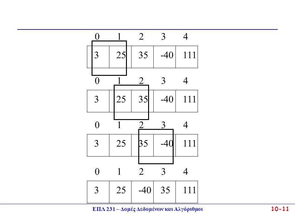 ΕΠΛ 231 – Δομές Δεδομένων και Αλγόριθμοι10-11 3 0 25 1 35 2 111 4 -40 3 3 0 25 1 35 2 111 4 -40 3 3 0 25 1 35 2 111 4 -40 3 3 0 25 1 -40 2 111 4 35 3