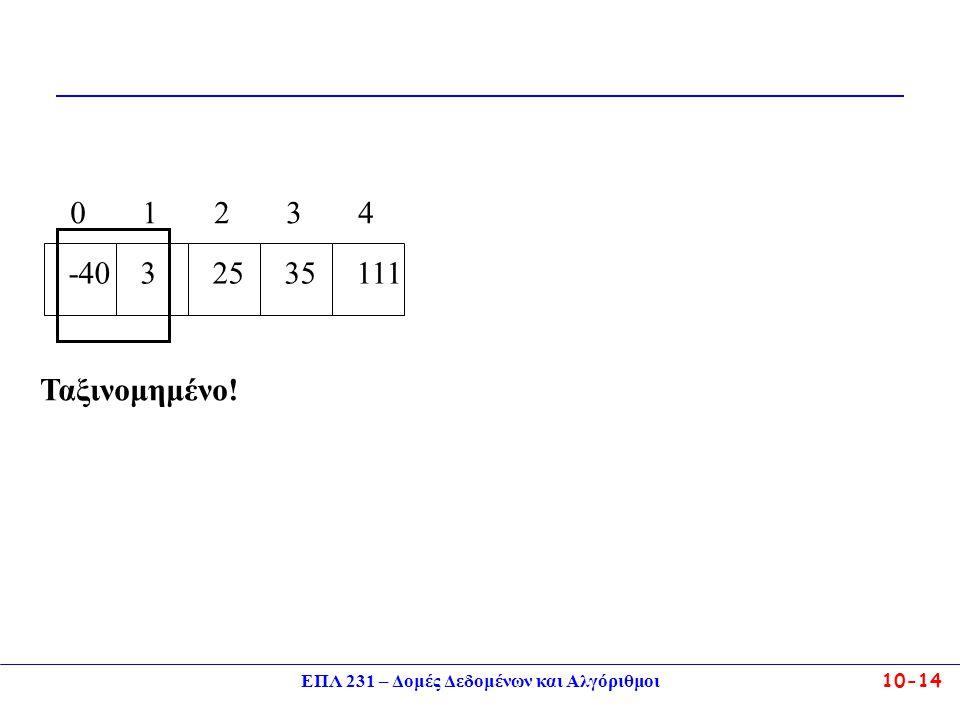 ΕΠΛ 231 – Δομές Δεδομένων και Αλγόριθμοι10-14 -40 0 3 1 25 2 111 4 35 3 Ταξινομημένο!