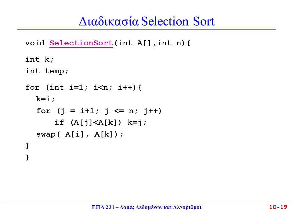 ΕΠΛ 231 – Δομές Δεδομένων και Αλγόριθμοι10-19 Διαδικασία Selection Sort void SelectionSort(int A[],int n){ int k; int temp; for (int i=1; i<n; i++){ k