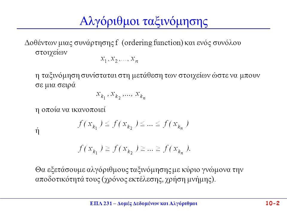 ΕΠΛ 231 – Δομές Δεδομένων και Αλγόριθμοι10-2 Αλγόριθμοι ταξινόμησης Δοθέντων μιας συνάρτησης f (ordering function) και ενός συνόλου στοιχείων η ταξινό
