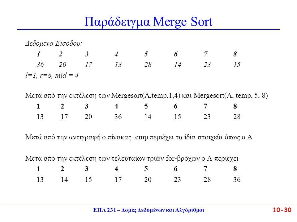ΕΠΛ 231 – Δομές Δεδομένων και Αλγόριθμοι10-30 Παράδειγμα Merge Sort Δεδομένο Εισόδου: 1 2345678 36 20171328142315 l=1, r=8, mid = 4 Μετά από την εκτέλ
