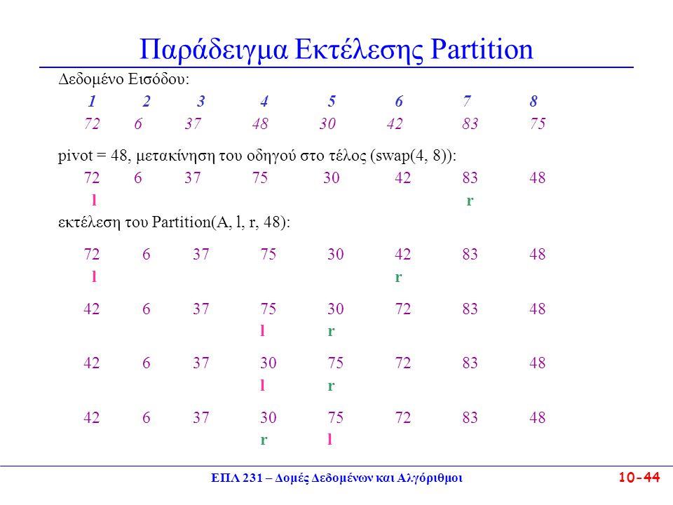 ΕΠΛ 231 – Δομές Δεδομένων και Αλγόριθμοι10-44 Παράδειγμα Εκτέλεσης Partition Δεδομένο Εισόδου: 1 2 345678 72 6 37 48 30 428375 pivot = 48, μετακίνηση