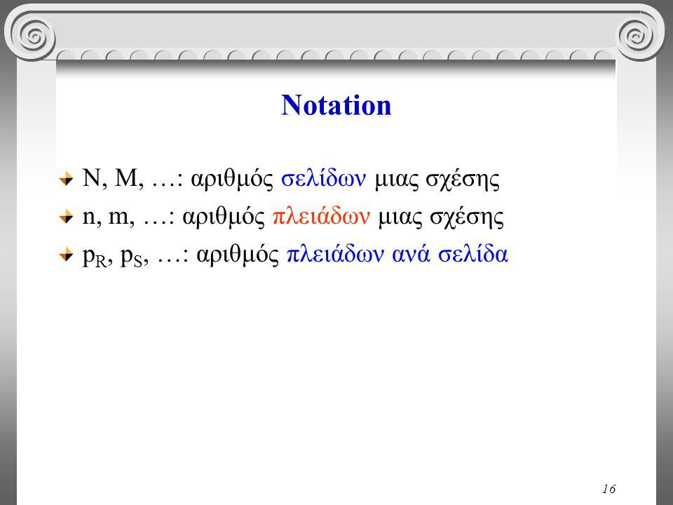 16 Notation Ν, Μ, …: αριθμός σελίδων μιας σχέσης n, m, …: αριθμός πλειάδων μιας σχέσης p R, p S, …: αριθμός πλειάδων ανά σελίδα