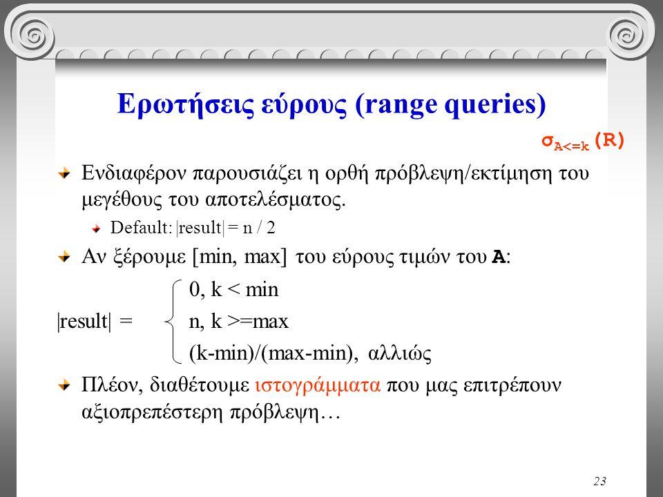 23 Ερωτήσεις εύρους (range queries) Ενδιαφέρον παρουσιάζει η ορθή πρόβλεψη/εκτίμηση του μεγέθους του αποτελέσματος. Default: |result| = n / 2 Αν ξέρου