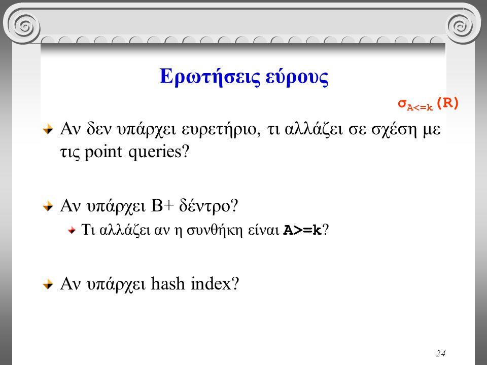 24 Ερωτήσεις εύρους Αν δεν υπάρχει ευρετήριο, τι αλλάζει σε σχέση με τις point queries? Αν υπάρχει Β+ δέντρο? Τι αλλάζει αν η συνθήκη είναι Α>=k ? Αν