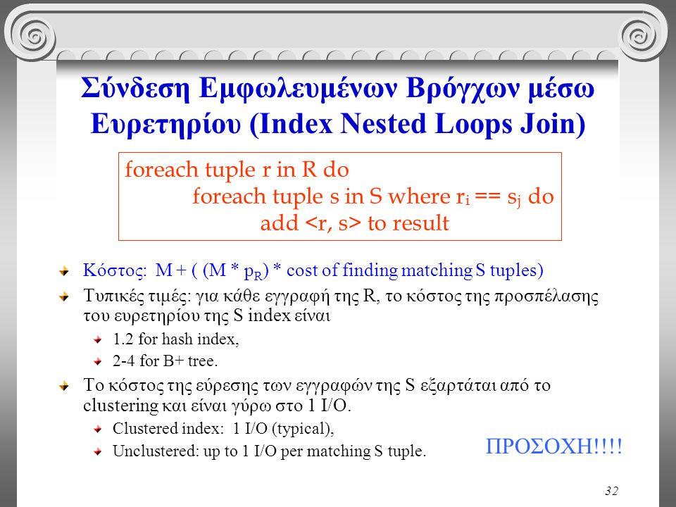 32 Σύνδεση Εμφωλευμένων Βρόγχων μέσω Ευρετηρίου (Index Nested Loops Join) Κόστος: M + ( (M * p R ) * cost of finding matching S tuples) Τυπικές τιμές: για κάθε εγγραφή της R, το κόστος της προσπέλασης του ευρετηρίου της S index είναι 1.2 for hash index, 2-4 for B+ tree.